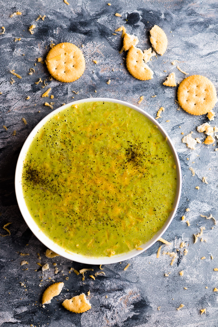 Turn leftover cheese sauce into a quick and easy 5-ingredient blender Broccoli Soup.   www.megiswell.com