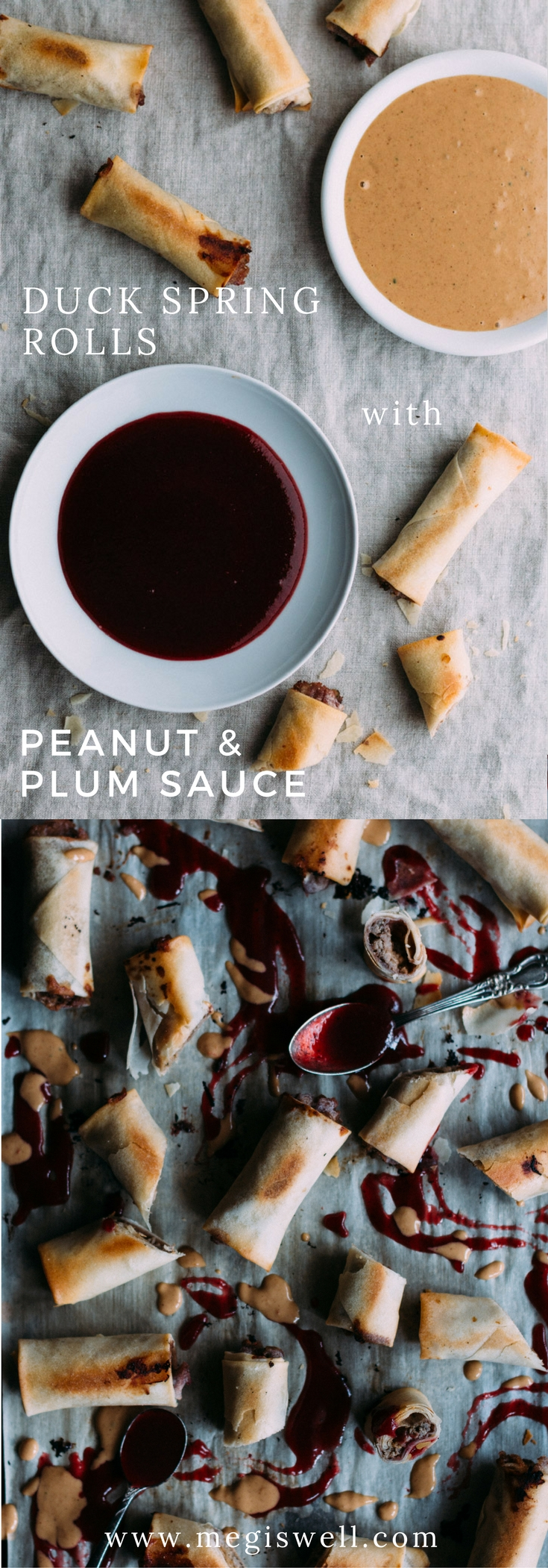 Duck and peanut sauce are wrapped up tight with a bright plum sauce in baked Chinese spring rolls for a subtle peanut butter and jelly twist. | #dimsum #appetizer #side #snack | www.megiswell.com
