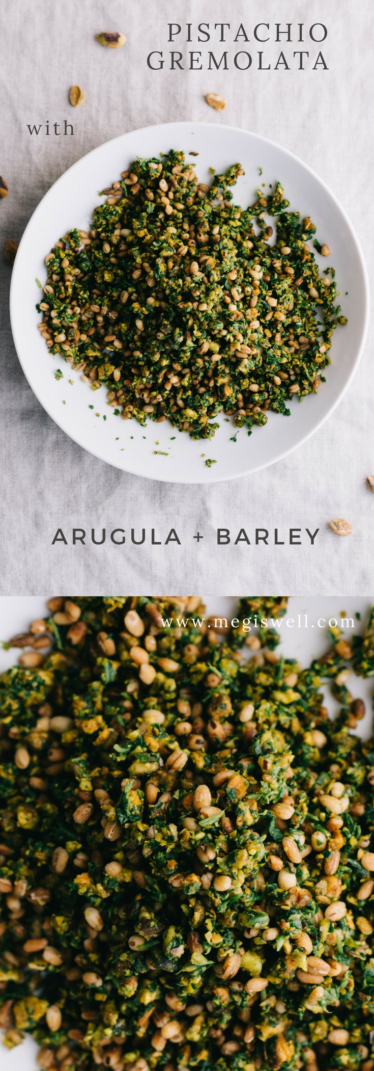 This Pistachio Gremolata with Arugula is a great fresh side or condiment to pair with protein or other veggies to brighten up your meal. Add barley to make it a fast more filling main dish. #healthy #salad #side #condiment | www.megiswell.com