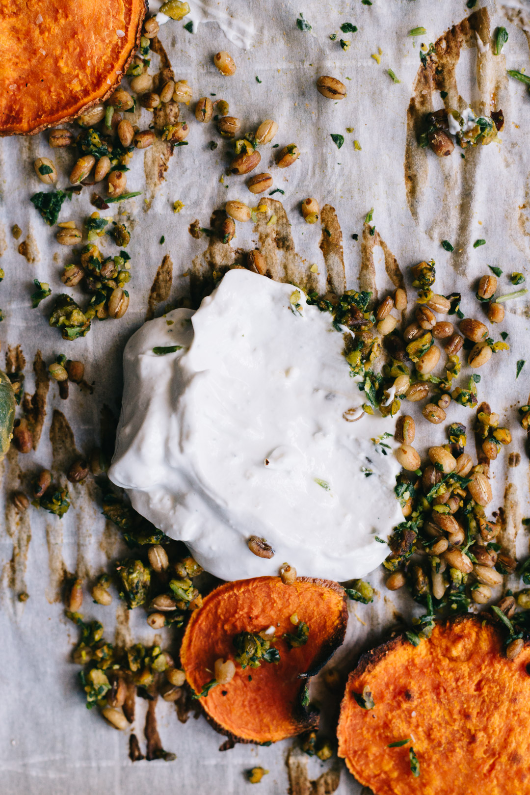 Close up overhead shot of a partial dollop of sour cream blue cheese dip surrounded by gremolata, barley, and sweet potato crisps.