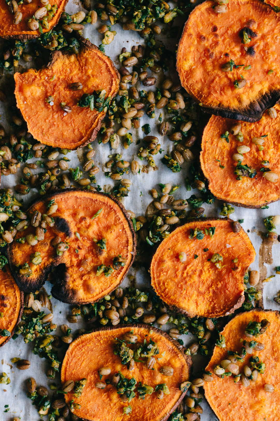 Close up overhead shot of baked sweet potato crisps and gremolata with barley on a parchment paper covered baking sheet.