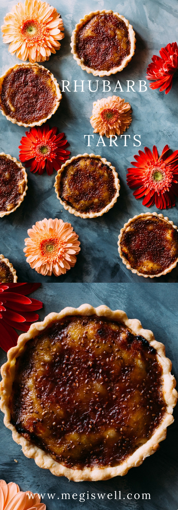 Rhubarb Tarts are beautiful bites of perfection with a buttery flaky crust, sweet marzipan filling, and a tart rhubarb chia seed jam top perfect for celebrating Mother's Day. #mothersday #rhubarb #tarts #desserts