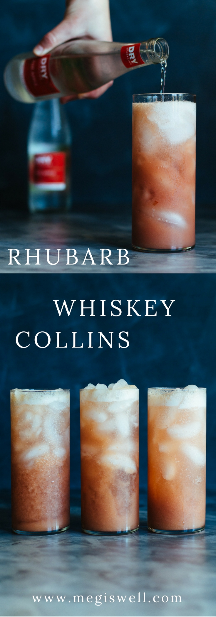 Rhubarb Whiskey Collins is a refreshing effervescent mix of rhubarb puree, whiskey, and Dry Sparkling Fuji Apple Soda. #mothersday #brunch #spring #summer #whiskey #cocktails