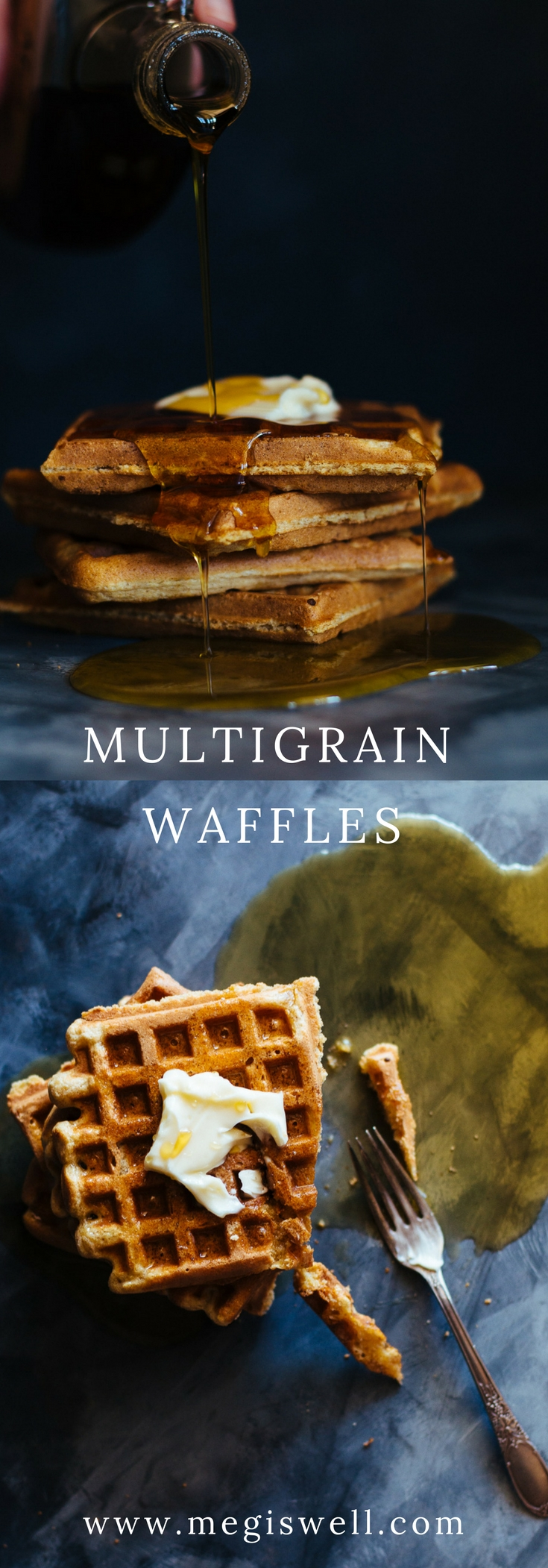 These Multigrain Waffles use a mix of whole spelt, millet, and oat flour to create depth of flavor. They're crispy on the outside, fluffy on the inside, and freezer friendly. #waffles #brunch #breakfast #bridalshower #mothersday