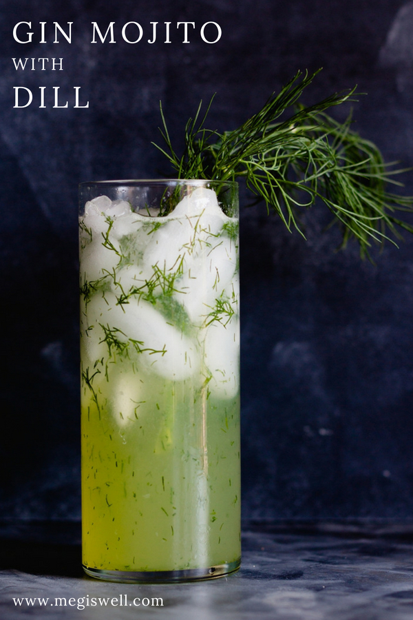 This Gin Mojito with Dill is an aromatic cocktail that feels like a breath of fresh air; light, herby, and refreshing. #gin #mojito #cocktail #dill | www.megiswell.com