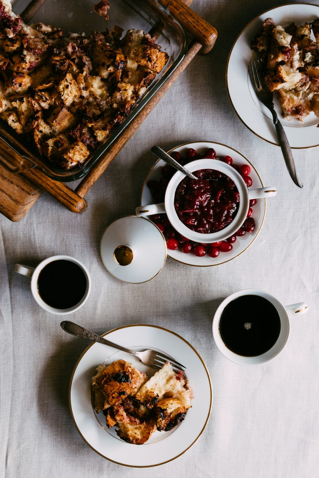 Savory French Toast Casserole with Thanksgiving Leftovers is a cross between French toast and stuffing and is a great way to use up any leftover turkey, cranberry sauce, and cheese from holiday platters. #Thanksgiving #Christmas #holidays #frenchtoast #turkey #cranberrysauce | www.megiswell.com