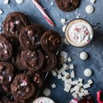 Chocolate Cookies with Peppermint Chips are the perfect addition to any Christmas cookie gifts you hand out, but only if you can stop eating them that is. | Ghirardelli | Holidays | gifts | candy canes | Christmas | www.megiswell.com