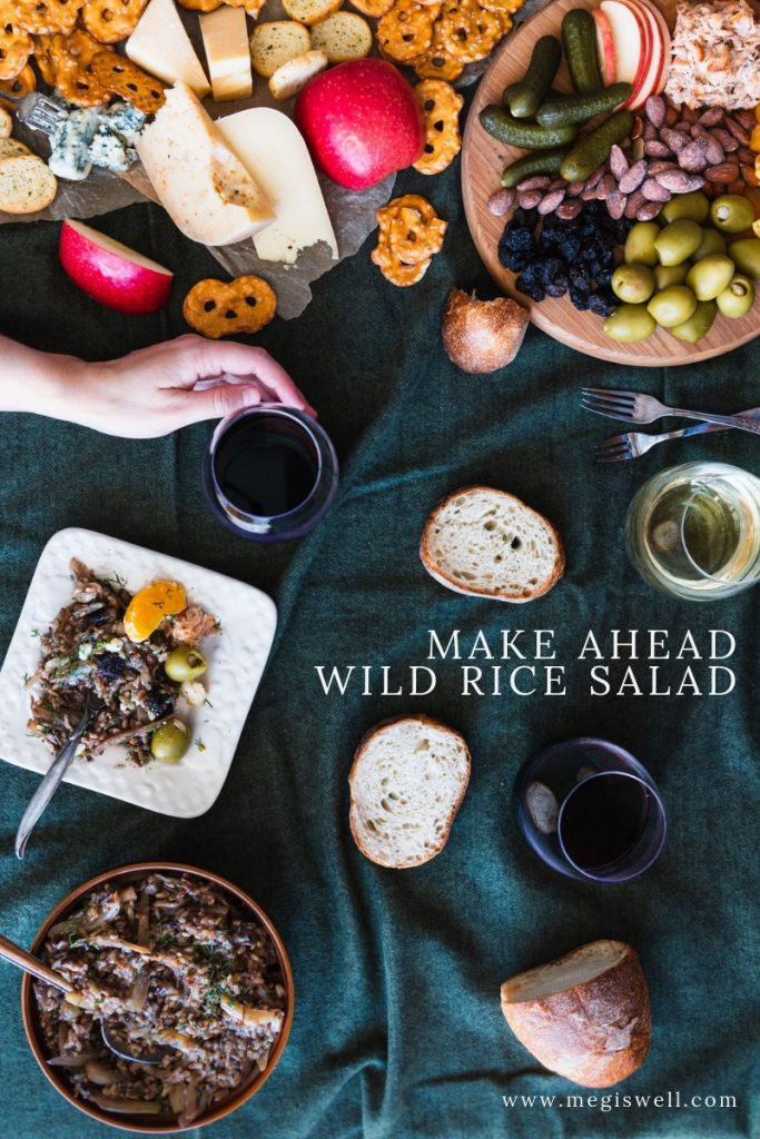 This Make Ahead Wild Rice Salad is perfect for any occasion or season and is especially good to pair with any seasonal picnic or holiday charcuterie board. | #wildrice #healthysalad #healthydinner #picnicsalad #cheeseboard #megiswell #meganwellsphotography | www.megiswell.com