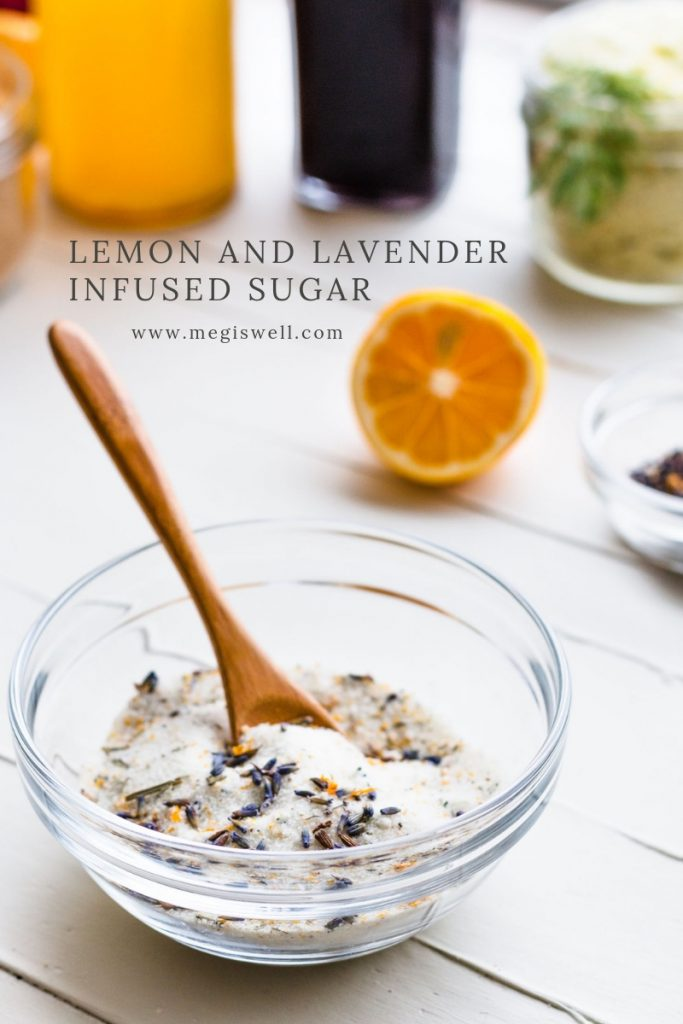 This Lemon and Lavender Infused Sugar has a sweet floral and lemon fresh fragrance that tastes amazing! | Lavender Sugar | Lemon Sugar | Infused Sugar | How to Make | DIY | #infusedsugar #megiswell #meganwellsphotography | www.megiswell.com