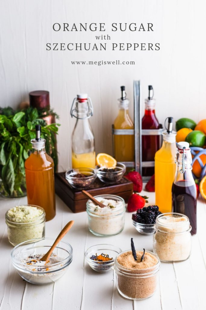 Orange Sugar with Szechuan Peppers has a bright orange flavor with slight lemony overtones that is simply effervescent. | Infused Sugar | DIY | #infusedsugar #orangesugar #megiswell #meganwellsphotography | www.megiswell.com
