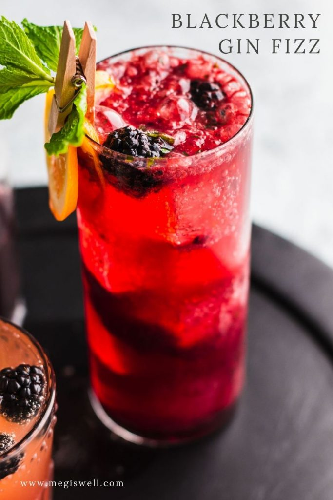 This Blackberry Gin Fizz is a brambly delight that has a bright and refreshing perk from the mint and fizzy soda water. Gin Bar | DIY | Cocktail Recipe | #ginfizz #shrubcocktail #megiswell #meganwellsphotography | www.megiswell.com