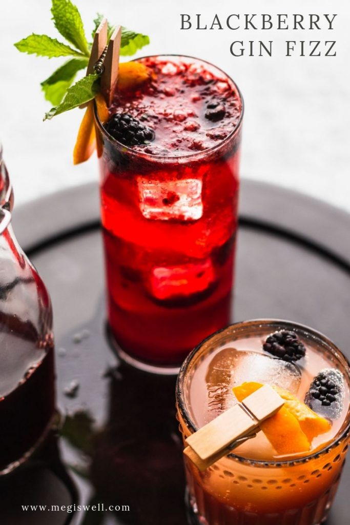 This Blackberry Gin Fizz is a brambly delight that has a bright and refreshing perk from the mint and fizzy soda water. Gin Bar   DIY   Cocktail Recipe   #ginfizz #shrubcocktail #megiswell #meganwellsphotography   www.megiswell.com