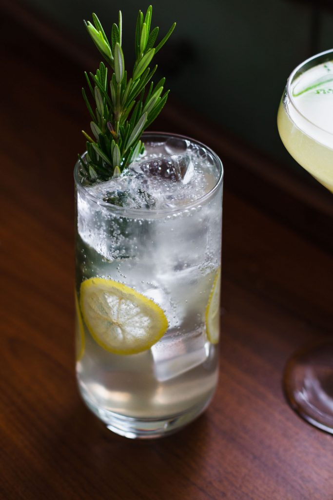 Side shot of fizzy iced cocktail with garnishes of lemon slices, rosemary, and mint next to another dink in a coupe glass.