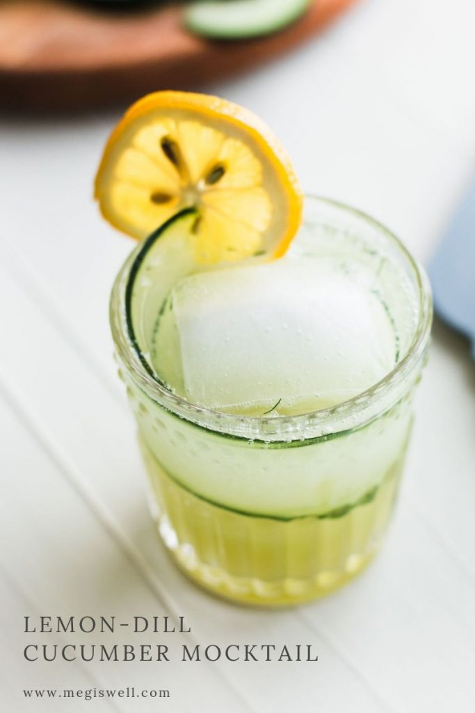 This Lemon-Dill Cucumber Mocktail has muddled cucumber and dill paired with flavors of lemon, cardamom, and mint, making this the perfect mocktail for summer! | Non Alcoholic | Summer Drinks | Shrub Mocktail | #mocktail #megiswell #meganwellsphotography | www.megiswell.com