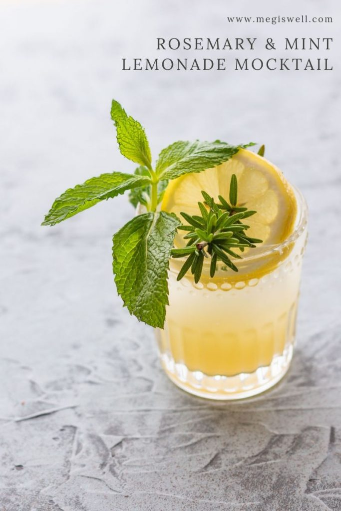 This Rosemary & Mint Lemonade Mocktail has a resinous and pine taste that is very gin-like, making it a great gin mocktail. | Non Alcoholic | Summer Drinks | Shrub Mocktail | #mocktail #megiswell #meganwellsphotography | www.megiswell.com