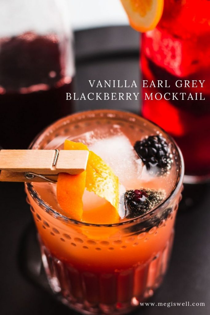 This Vanilla Earl Grey Blackberry Mocktail has delicious currents of vanilla, orange, bergamot, and blackberry and is the perfect mocktail for tea lovers! | Non Alcoholic | Summer Drinks | Shrub Mocktail | #mocktail #megiswell #meganwellsphotography | www.megiswell.com