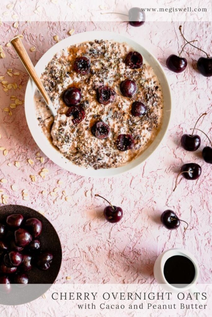 These Cherry Overnight Oats are a filling and healthy make-ahead breakfast option with fresh cherries, high-protein Greek yogurt, hemp and chia seeds, unsweetened cacao powder, peanut butter, and cacao nibs. | Back to School | Breakfast Ideas | #overnightoats #megiswell #meganwellsphotography | www.megiswell.com