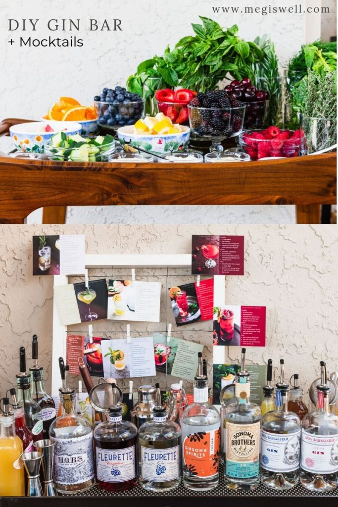 Learn how to plan, put together, and throw an amazing gourmet DIY Gin Bar party for summer fun with your friends and family (mocktails included too)! | Cocktails | Beverages | Alcoholic | Non-Alcoholic | #gin #ginbar #megiswell #meganwellsphotography | www.megiswell.com
