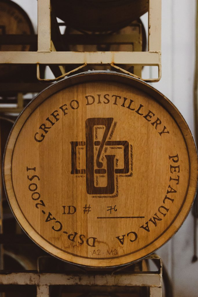 Vertical side shot of a Griffo Distillery cask.