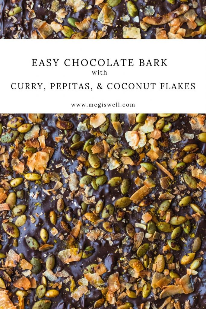 This Easy Chocolate Bark with Curry, Pepitas, and Coconut Flakes is a sweet and savory combo that's so toasty and warm, you'll keep coming back for more. #chocolatebark #ediblegift #holidayrecipe #pumpkinseeds | www.megiswell.com