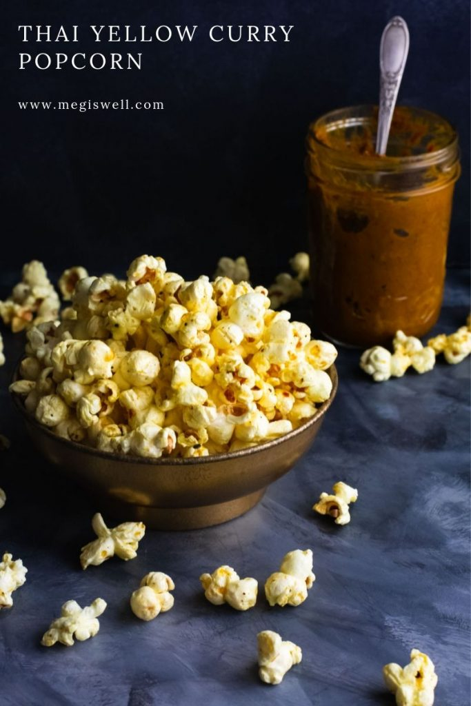 Buttery, salty, warm, and slightly sweet, this Thai Yellow Curry Popcorn will destroy your portion control will power. | Stovetop | Savory | Snack | www.megiswell.com