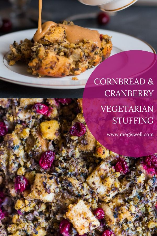 This Cornbread and Cranberry Vegetarian Stuffing is a remake of a Thanksgiving classic. Mushrooms and sage provide savory umami flavor and cranberries bring bright pops of flavor to your mouth. | #vegetarianstuffing #vegetarianthanksgiving #cornbreadstuffing | www.megiswell.com