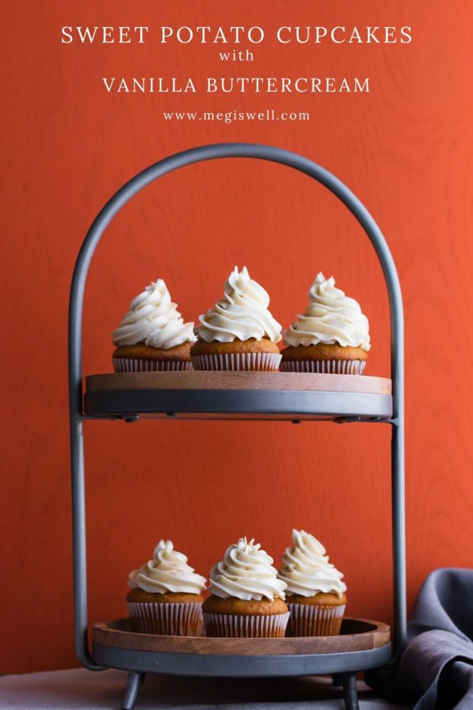 These quick-bread Sweet Potato Cupcakes with Vanilla Buttercream are moist and packed with the fall flavors of cinnamon, ginger, nutmeg, and Chinese 5 spice and are topped with a Swiss meringue buttercream studded with vanilla bean paste. They're perfect individual sized Thanksgiving desserts! | Friendsgiving | www.megiswell.com