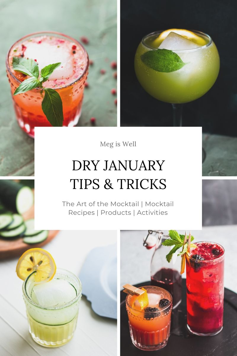 Collage of four mocktail drinks with a text overlay reading Dry January Tips & Tricks.