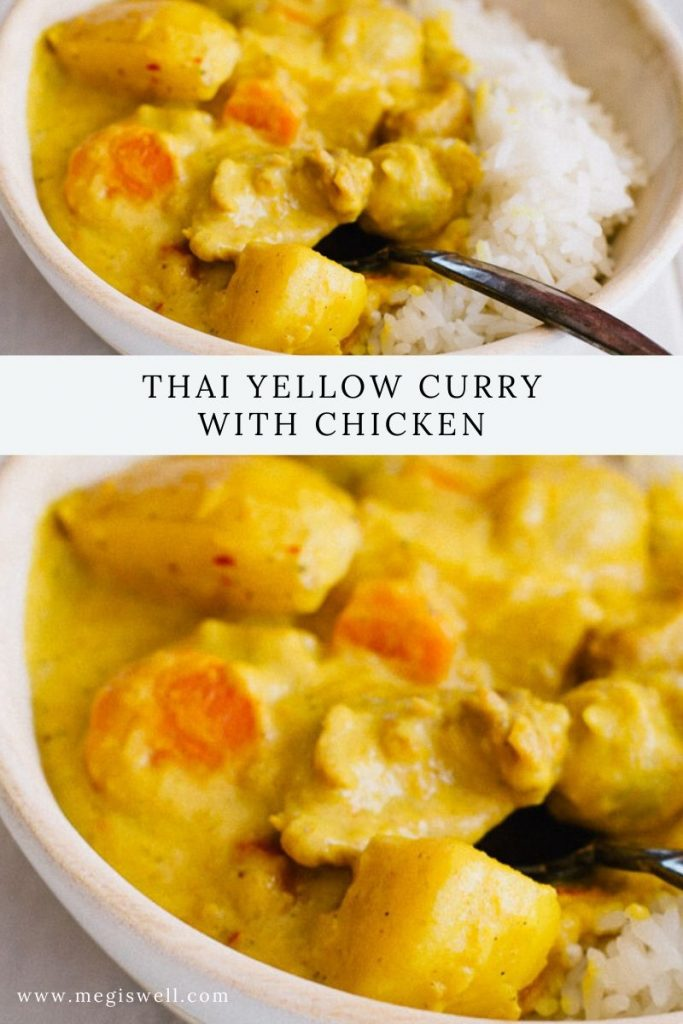 Thai Yellow Curry with Chicken is the ultimate comfort food. Yukon gold potatoes, pearl onions, sliced carrots, and bite-sized pieces of chicken soak up all the wonderful creaminess of curry, coconut cream, and coconut milk, making each bite heaven. | #curryrecipe #thaiyellowcurry | www.megiswell.com