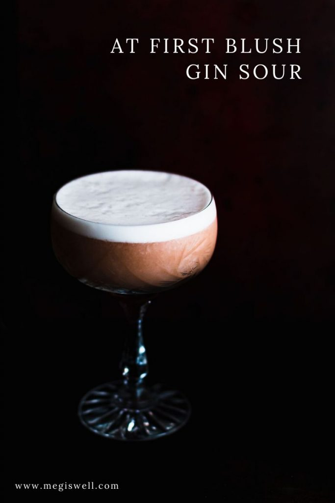 This At First Blush Gin Sour is light, subtly fruity and sweet with a luscious texture, making it a gin and absinthe cocktail that is extremely friendly to everyone. | Egg Whites | Cocktail Recipe | Aquafaba Vegan Substitute Option | www.megiswell.com