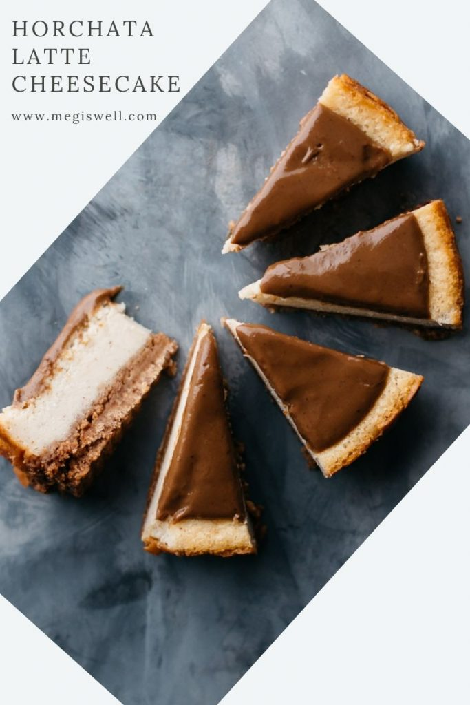 This Horchata Latte Cheesecake has that creamy, slightly nutty, toasty, and cinnamon flavor of horchata and is topped with a latte glaze. | Galentine's Day | Valentine's Day | Homemade | Coffee | #horchata #latte #cheesecake | www.megiswell.com