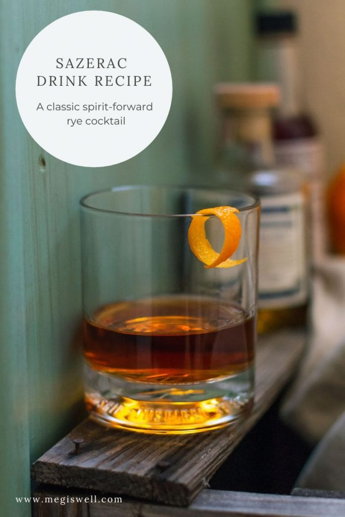 This Sazerac drink recipe is a stiff one composed of an absinthe rinse, water, demerara sugar, Peychaud's bitters, rye, cognac, and orange peel. It's heady, aromatic, and has layers of flavors pretty complex for such a simple drink.   New Orleans   Spirit Forward Cocktail   Classic Drink Recipe   www.megiswell.com