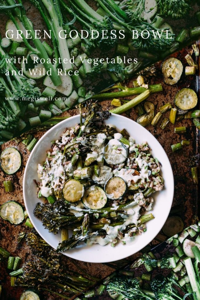 This Green Goddess Bowl with Roasted Vegetables and Wild Rice is packed full of broccolini, zucchini, asparagus, and peas and arugula based Green Goddess Dressing. | Wild Rice Bowl | Healthy Dinner Recipe | www.megiswell.com