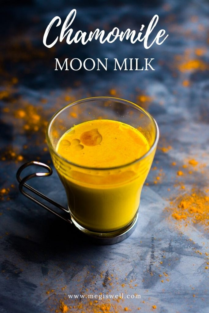 This Chamomile Moon Milk is a warm spice and herbal nighttime beverage to help relieve sleeplessness and stress. | Sleep Remedy | Stress Reliever | Soothing | Ashwagandha | Turmeric | Cinnamon | Cardamom | Ginger | Raw Cacao Butter | #moonmilk | www.megiswell.com