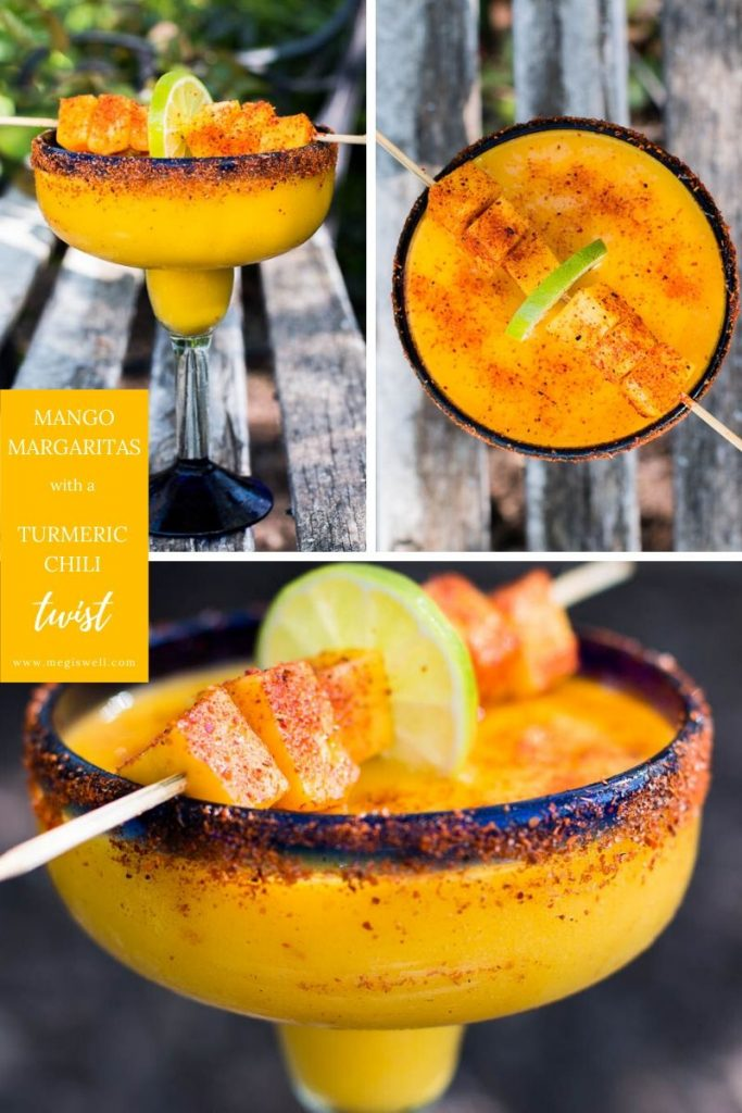 These Mango Margaritas spice things up a bit with a delicious turmeric simple syrup and a sprinkling of Tajin chili seasoning. They can also be frozen and taken to-go on picnics. | Recipe Blended | Tajin Recipes | #mangomargaritas | www.megiswell.com
