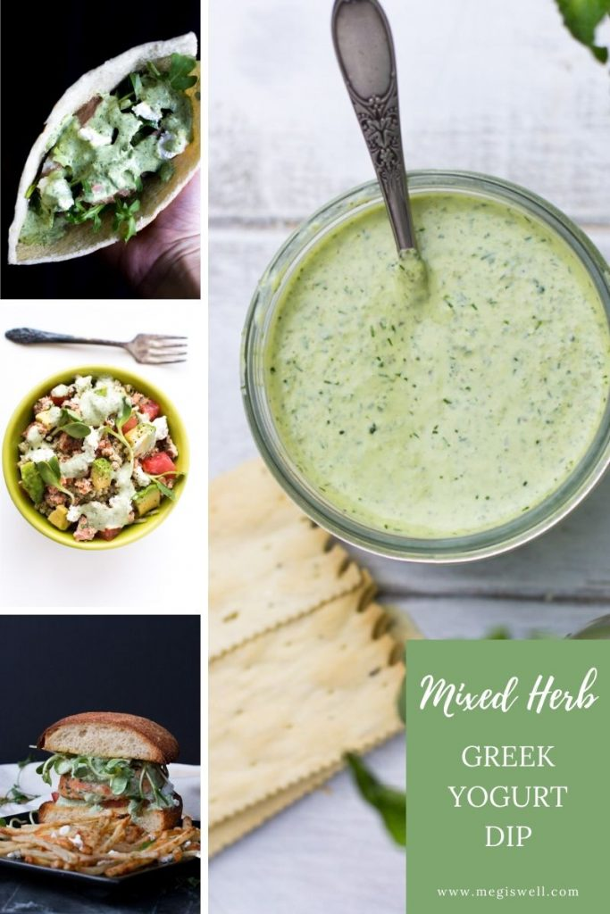 This Mixed Herb Greek Yogurt Dip combines basil, mint, and dill with lemon juice, capers, and yogurt. Use it as a dip or drizzle it on salads, meat, or fish. | Greek Yogurt Dressing | Easy Healthy Dip Recipe | For vegetables, chicken, steak, fish | #greekyogurtdip | www.megiswell.com