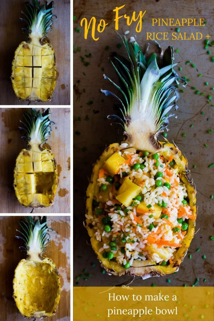 This easy No-Fry Pineapple Rice Salad is a simple side perfect for summer parties. | Cold Rice Salad | Pineapple Bowl | Vegetarian | Vegan | www.megiswell.com