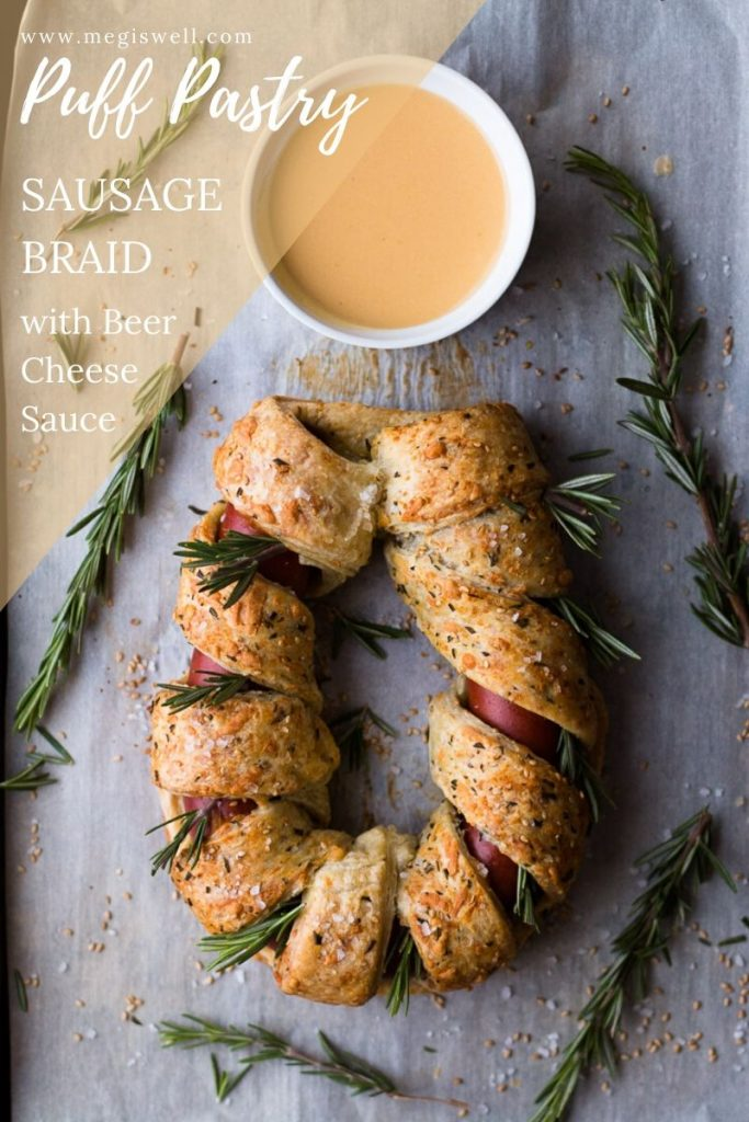 This Puff Pastry Sausage Braid is an easy & tasty side or appetizer especially when dipped into a Beer Cheese Sauce made with American wheat ale, cheddar, and smoked Gouda for a sweet n' smoky explosion of flavor. | Puff Pastry Recipes | Savory | Sausage Rolls | Gastro Pub Food | Brewery & Bar Food | #puffpastry | www.megiswell.com