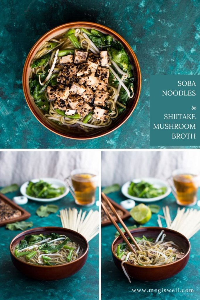 Soba Noodles in Shiitake Mushroom Broth with Sesame Crusted Tofu and Pea Shoots has a simple, fast, and flavorful broth that serves as the base of this delicious, healthy, and vegetarian/vegan cold fighting soup. | Immune Boosting Soup | Soba Noodle Soup | #sobanoodles #sobanoodlesoup | www.megiswell.com