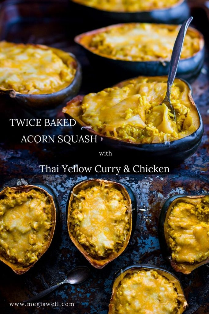 This Twice Baked Acorn Squash with Thai Yellow Curry and Chicken combines Thai yellow curry paste, coconut milk, shredded chicken, and jasmine rice in a simple and comforting meal. | Chicken leftover recipes | Pantry Recipes | #leftovers #leftoverrecipes | www.megiswell.com