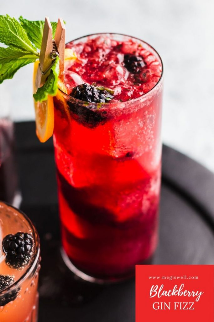 This Blackberry Gin Fizz is a brambly delight that has a bright and refreshing perk from the mint and fizzy soda water. Gin Bar | DIY | Cocktail Recipe | #ginfizz #shrubcocktail #cocktailrecipe | www.megiswell.com