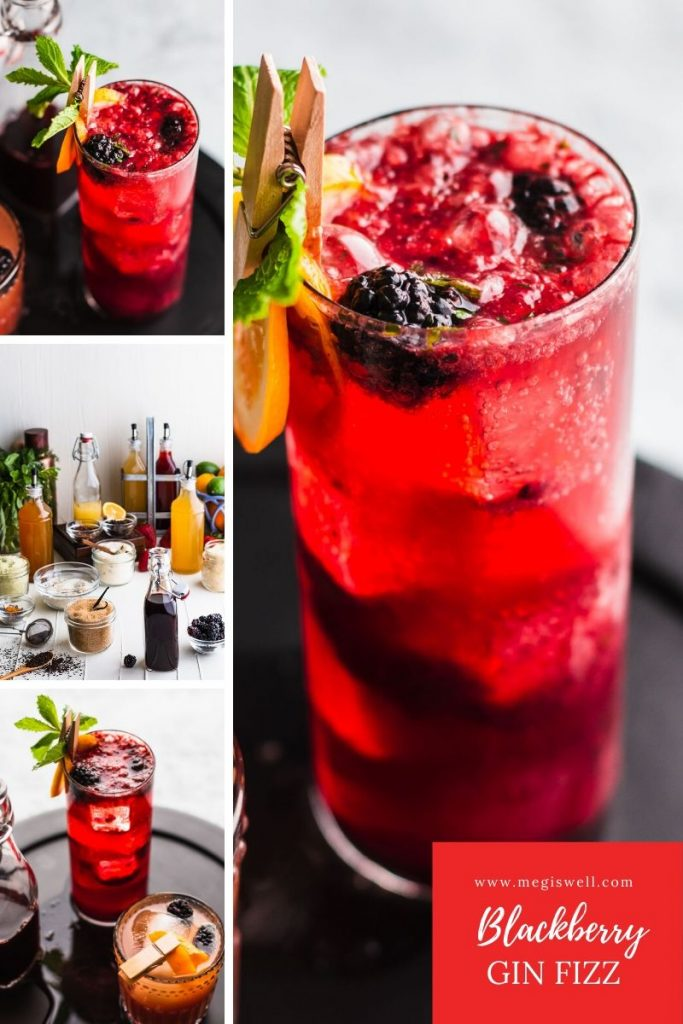 This Blackberry Gin Fizz is a brambly delight that has a bright and refreshing perk from the mint and fizzy soda water. Gin Bar   DIY   Cocktail Recipe   #ginfizz #shrubcocktail #cocktailrecipe   www.megiswell.com
