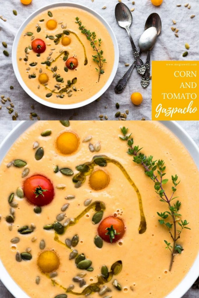This easy Corn and Tomato Gazpacho is a healthy raw soup perfect for a light dinner on hot summer days. | Vegan | Vegetarian | Chilled | Cold | Creamy | Fine Dining | #corngazpacho #gazpacho | www.megiswell.com