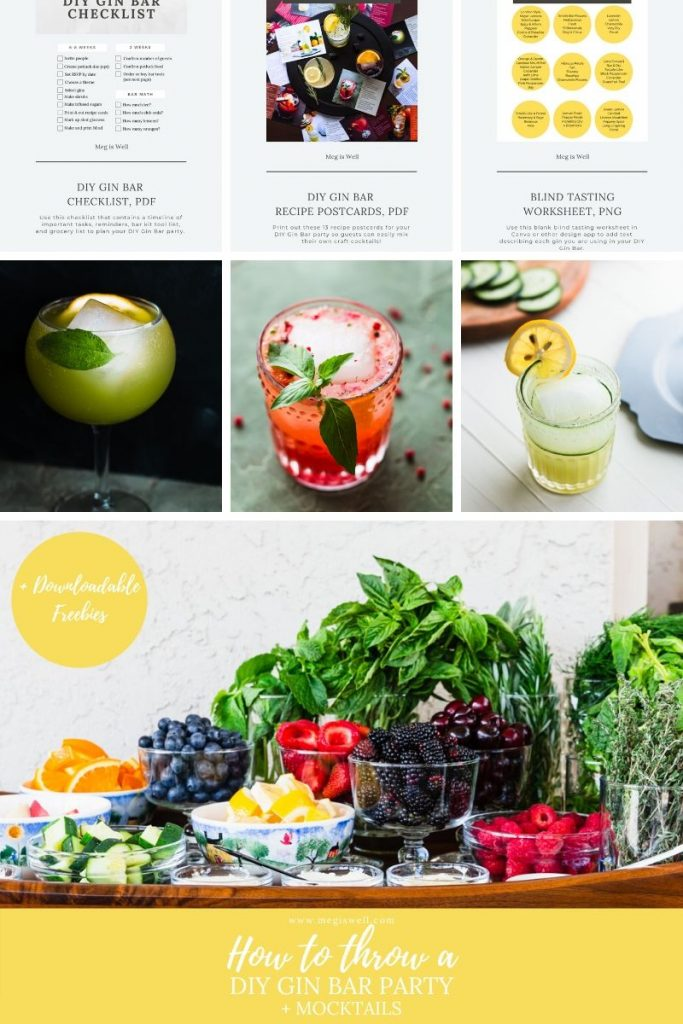 Learn how to plan, put together, and throw an amazing gourmet DIY Gin Bar party for summer fun with your friends and family (mocktails included too)! | Cocktails | Beverages | Alcoholic | Non-Alcoholic | #gin #ginbar #cocktailrecipe #mocktailrecipe #megiswell | www.megiswell.com