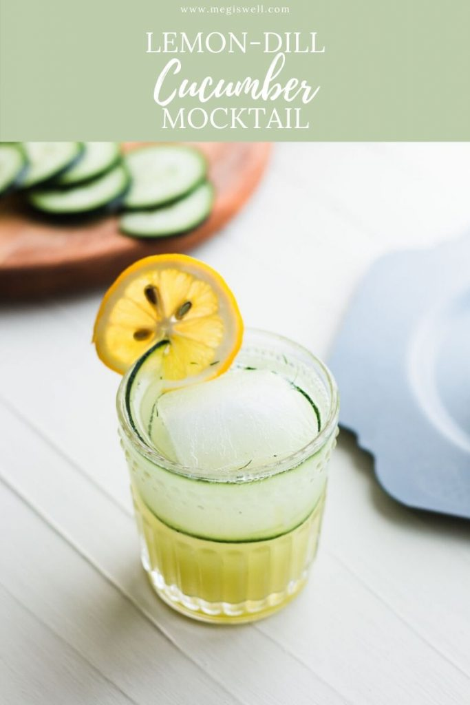 This Lemon-Dill Cucumber Mocktail has muddled cucumber and dill paired with flavors of lemon, cardamom, and mint, making this the perfect mocktail for summer! | Non Alcoholic | Summer Drinks | Shrub Mocktail | #mocktail #mocktailrecipe #megiswell | www.megiswell.com