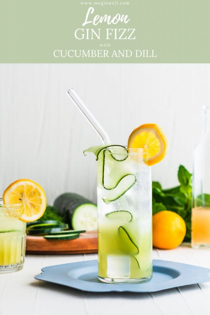 This Lemon Gin Fizz with Cucumber and Dill is the perfect drink for a hot spring or summer day! Gin Bar | DIY | Cocktail Recipe | #ginfizz #shrubcocktail #cocktailrecipe #megiswell | www.megiswell.com