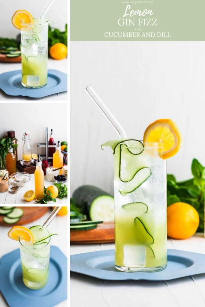 This Lemon Gin Fizz with Cucumber and Dill is the perfect drink for a hot spring or summer day! Gin Bar | DIY | Cocktail Recipe | #ginfizz #shrubcocktail #megiswell #meganwellsphotography | www.megiswell.com