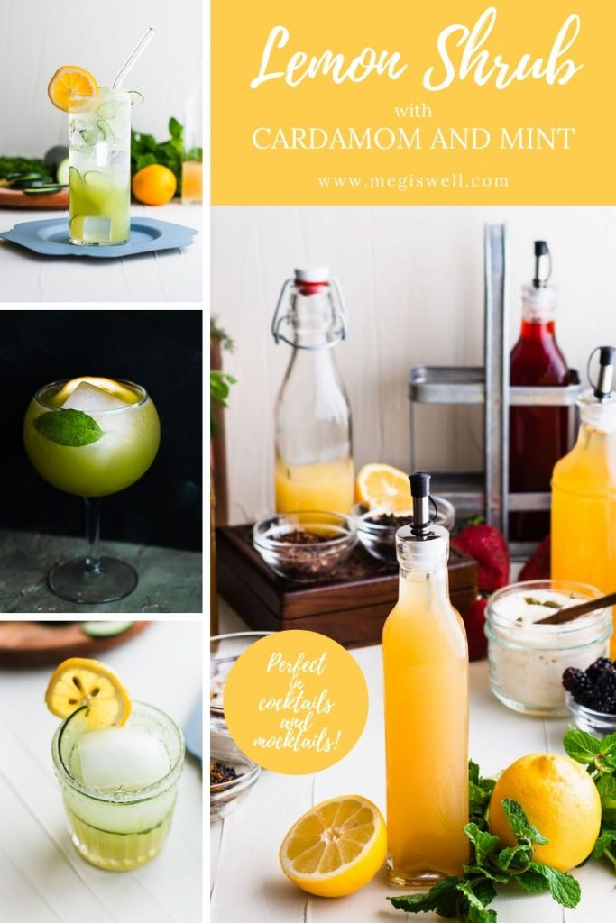 This Lemon Shrub with Cardamom and Mint packs a cool refreshing punch of flavor on hot spring or summer days in any cocktail or mocktail! | Shrub Recipe | How to Make | DIY | Drinks | #mocktailrecipe #cocktailrecipe #megiswell | www.megiswell.com