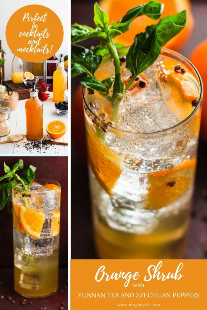 This Orange Shrub Recipe with Yunnan Tea and Szechuan Peppers has a bright orange-lemon flavor that is balanced with a slightly spicy maltiness. | Shrub Recipe | How to Make | DIY Gin Bar | Cocktails | Mocktails | Drinks | #ginbar #mocktailrecipe #cocktailrecipe #megiswell #meganwellsphotography | www.megiswell.com