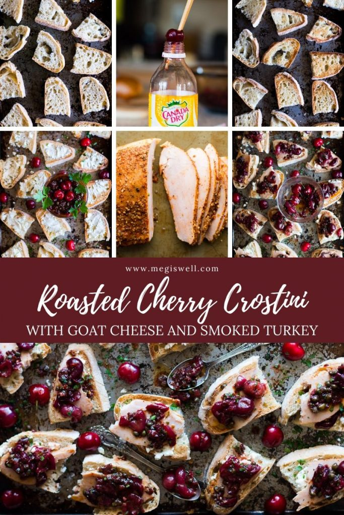 Roasted Cherry Crostini combines a sweet and slightly tart Roasted Cherry Caper Sauce, creamy goat cheese, and flavor packed hickory smoked turkey breast on toasted ciabbata bread for an excellent summer or holiday appetizer. | Sponsored by Jennie-O | Fresh or Frozen Cherries | Charcuterie Board Toppings | Cheeseboard | #crostini | www.megiswell.com